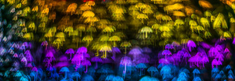 Form för paraplyet för nattljusbokeh, defocused bokeh tänder, blurr Fotografering för Bildbyråer