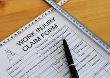 Form för reklamation för arbetsskada Royaltyfri Fotografi