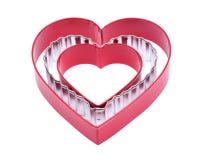Form för skärare för kaka för hjärtaformfördjupning plast- och rostfritt stål hjärta-formade gåvakex som klipper formen för kakab fotografering för bildbyråer