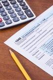 Form 1040 för 2014 skatteår Arkivfoton
