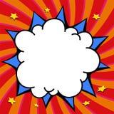 Form för smällen för komikerpop-konst stil vred tom på en mång- färg bakgrund Royaltyfri Foto