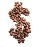 Form för tecken för kaffebeansinpengar Royaltyfria Foton