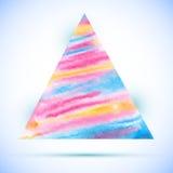 Form för triangel för vektorvattenfärg färgrik med skugga Royaltyfria Bilder