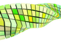Form för Waveswirl 3d i grön yellow Arkivfoto