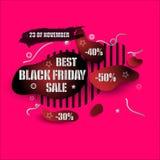 Form-Fahnenentwurf der schwarzen Freitag-Verkaufszusammenfassung moderner Preis mit Rabatt Roter und schwarzer Farbaufkleberentwu vektor abbildung