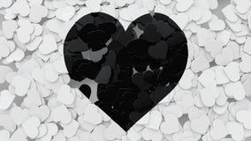 Form-Fliesen des Herz-3D zerstreut auf den Boden mit Herz-Symbol, 3 Lizenzfreies Stockfoto