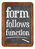 Form follows function design principle on blackboard Royalty Free Stock Photography