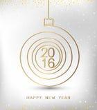 Form för guld 2016 för lyckligt nytt år för glad jul spiral Ideal för xmas-kort eller elegant inbjudan för ferieparti Vektor Eps1 Arkivbild