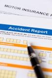 Form för rapport för motor- eller bilförsäkringolycka Arkivbild