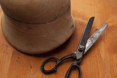 Form on hats with needles and powl craft/ hat maker hat maker sh Stock Photo