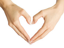 The form heart from female hands Stock Image