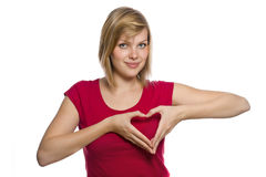 Form of heart shaped by hands Royalty Free Stock Images