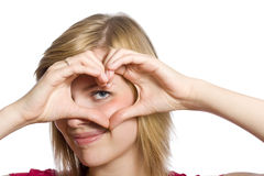 Form of heart shaped by hands Royalty Free Stock Photos