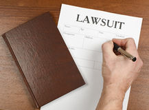 The form of the lawsuit is on the table Stock Photography