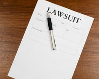 The form of the lawsuit is on the table Stock Image