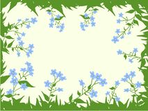 The form for the letter. The background consists of forget-me-nots. Stock Photography