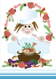 Form menu with the chef and food. Frame. Banner Royalty Free Stock Image