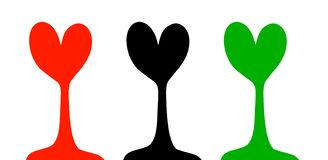 Form mit drei Bäumen der Herzhandgezogenen Illustration in der Karikaturart vektor abbildung
