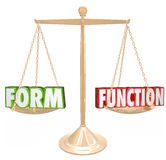Form Over Vs Function Words Gold Scale Style Substance Stock Photo