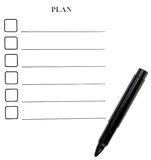 Form for planning. And a black felt-tip Stock Photos