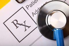Form of prescribing medicicnes and stethoscope Royalty Free Stock Photos