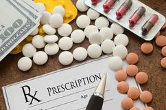 Form of prescription medicine, pills and money