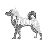 Form of round particles alaskan malamute dog Royalty Free Stock Images