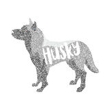 Form of round particles siberian husky dog breed. Doggy mammal, vector illustration Stock Photo
