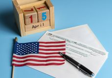 Form 1040 Simplified in postcard envelope for filing taxes Stock Photography