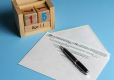 Form 1040 Simplified in postcard envelope for filing taxes Stock Photo