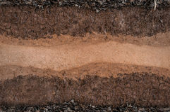 Form of soil layers,its colour and textures. Texture layers of earth royalty free stock image