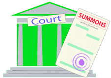 The form of the summons on the background of the courthouse Royalty Free Stock Images