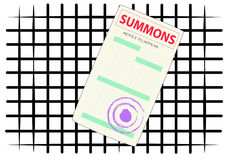 The form of the summons on the background of iron bars Royalty Free Stock Images