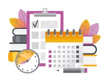Calendar and checklist 2. Time management. The form for the survey. Questioning. Vector illustration. Calendar, checklist, daily schedule, pencils. Planning royalty free illustration