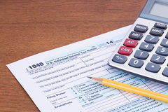 Form 1040 for 2014 tax year Royalty Free Stock Photography