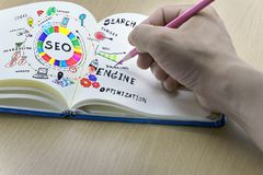 SEO Search Engine Optimization with Icon Set. The form of text, paper sheet with hand holding a pink pencil,SEO concept,SEO Search Engine Optimization with Icon Royalty Free Stock Photos