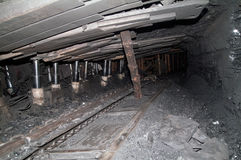 Form a tunnel in an underground mine. Coal mining Royalty Free Stock Photography
