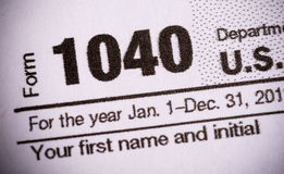 Form 1040 United States tax form close-up Royalty Free Stock Image