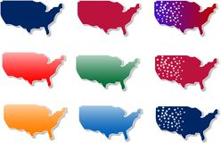 form of Usa stickers set Royalty Free Stock Photography