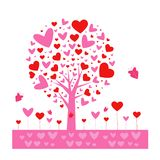 Form-Vektorhintergrund des Valentinsgrußes tree Blatt von den Herzen Getrennt auf weißem Hintergrund Auch im corel abgehobenen Be stock abbildung