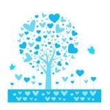 Form-Vektorhintergrund des Valentinsgrußes tree Blatt von den Herzen Getrennt auf weißem Hintergrund Auch im corel abgehobenen Be vektor abbildung