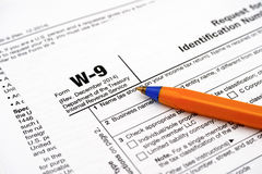 Form W-9 with ballpoint pen Stock Photography