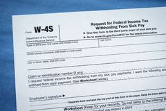 Form W-4S Request for Federal Income Tax Withholding From Sick Pay. Virginia, USA - January 31, 2019: Form W-4S Request for Federal Income Tax Withholding From royalty free stock photo