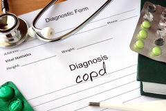 Form with word diagnosis Chronic obstructive pulmonary disease (COPD). Form with word diagnosis and tablet with Chronic obstructive pulmonary disease (COPD royalty free stock photo