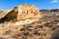 Formação amarela do arenito no deserto de Nevada do sul Imagens de Stock Royalty Free