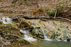 Formação da cachoeira do travertino - 3 fotos de stock