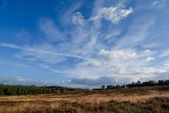 Formação da nuvem do outono contra o céu azul sobre a perseguição de Cannock foto de stock