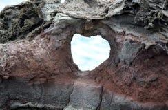 Formação da parede da rocha da janela do coração Foto de Stock