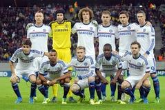Formação de Chelsea FC representada antes do jogo da liga de campeões de UEFA Imagens de Stock