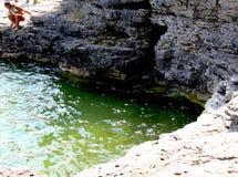 Formação de Lake&Rock Fotografia de Stock